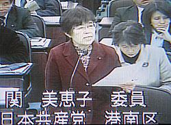 総合審査で質問する関美恵子議員