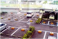 長津田スカイハイツ(青葉区)のガラ空きの駐車場。黄色いブロックのところはすべて未契約。(写真は保険医協会、宮川横浜支部長提供)