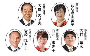 上左から大貫のり夫、あらき由美子、下左から岩崎ひろし、白井まさ子、古谷靖彦氏